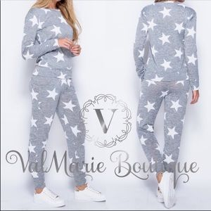 Star Print Gray Lounge Pajama Set